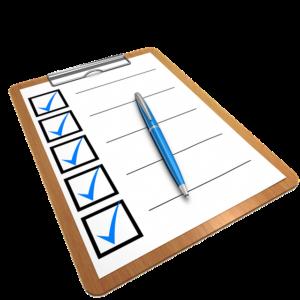 checklist of your goals